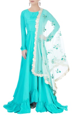 Aqua blue anarkali set with embroidery