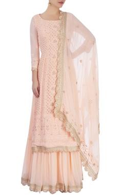 Peach embellished skirt set