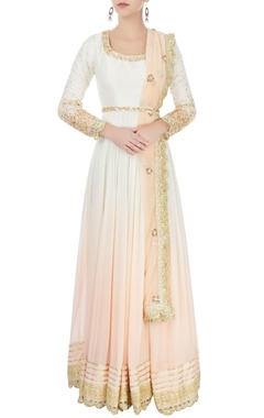 Ivory & peach ombre kurta set with embroidery