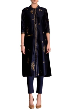 navy blue screen printed kurta set