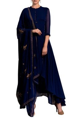 blue kurta set with screen printed dupatta