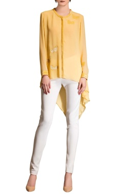 Yellow top with embroidered cow motifs