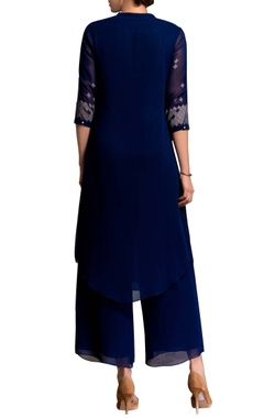 blue screen printed kurta set
