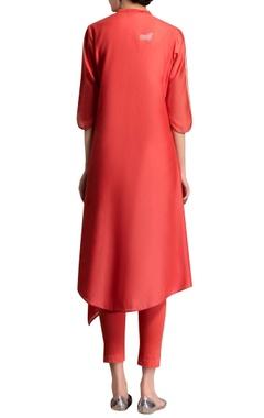 Red printed kurta
