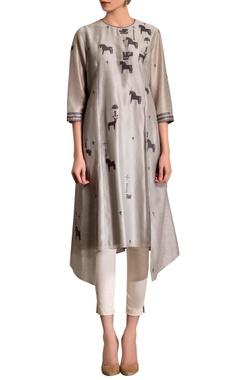 grey asymmetric kurta