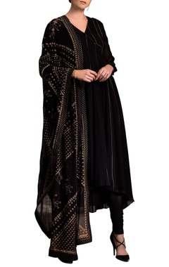 Black printed anarkali set based in viscose georgette