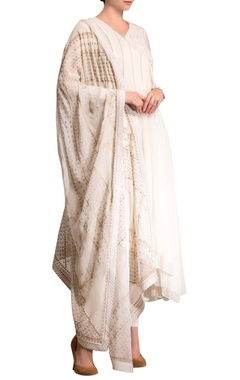 ivory printed anarkali set