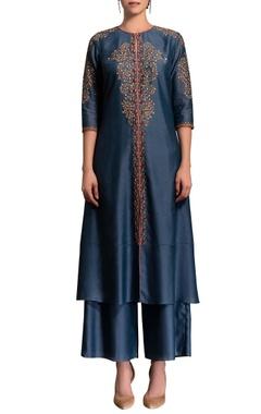 smokey blue embroidered kurta set