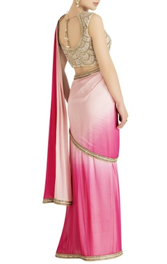 Pink shaded sari with embroidery