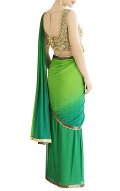 green shaded sari with embroidery