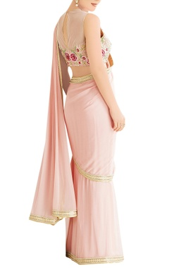 pink sari with embroidered blouse