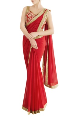 red embroidered sari