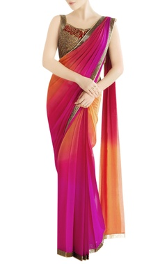 Orange & fuschia shaded sari with embroidery