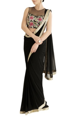 Black sari with embroidered blouse