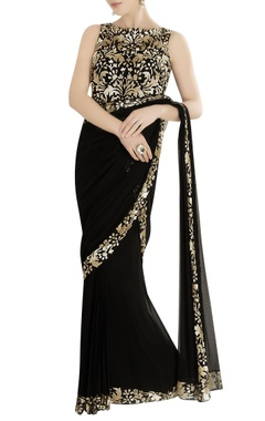 black gown sari with sequin embroidery