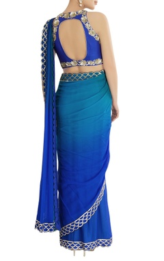 Blue shaded sari with scallop embroidery