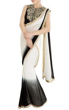 Black & ivory shaded sari with embroidered blouse