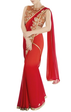 Red sari with floral embroidery