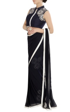 Navy blue sari with threadwork