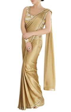 Gold sari with an embroidered blouse