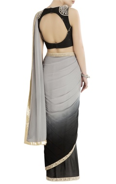 Black & grey shaded sari with embroidered blouse