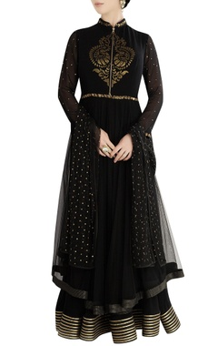 Black layered anarkali set with patchwork