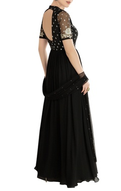 Black embroidered anarkali set