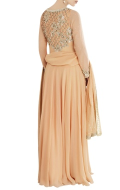 peach anarkali set with embroidery