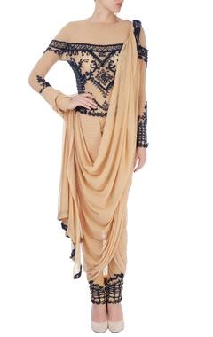 Beige dhoti sari with embroidery