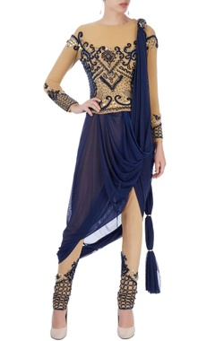 Beige & navy blue dhoti sari with embroidery