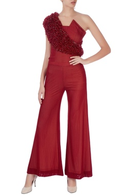 Maroon jumpsuit with crystal embellishments