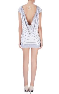 White & grey sequin embellished dress