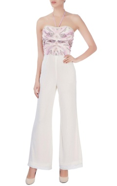 Pink & white embroidered jumpsuit