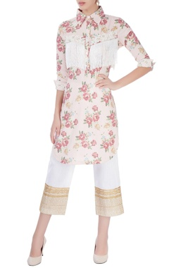 pink embroidered kurta with pants