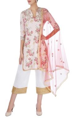 Pink & white abla embroidered kurta set