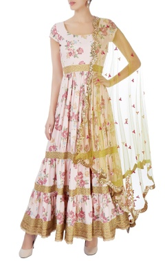 Seema Khan Pink & gold anarkali set