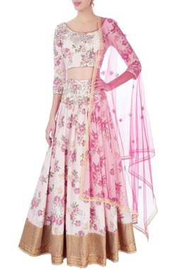 Seema Khan Pink & gold embroidered lehenga set