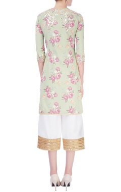 Green & white embroidered kurta set