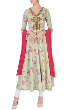 Seema Khan Green embroidered anarkali with dupatta