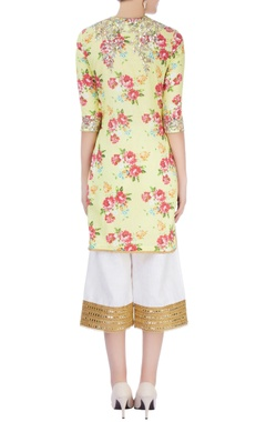 Yellow embroidered kurti with pants