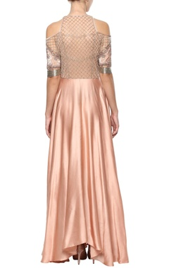 Peach cold shoulder gown