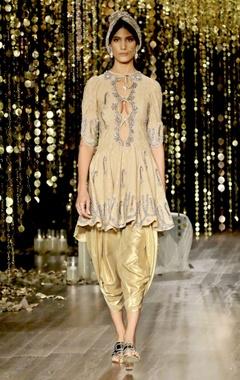 gold embroidered kurta set
