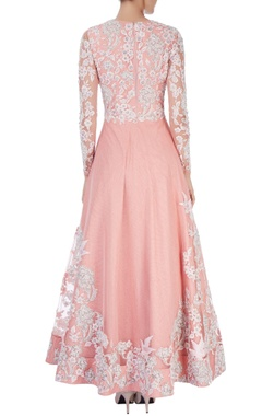 Peach embroidered anarkali with dupatta