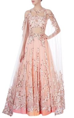 peach cold-shoulder gown