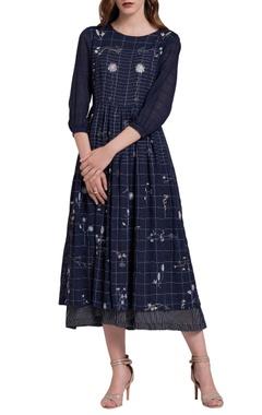 dark blue floral embroidered dress