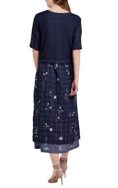 dark blue hand embroidered floral midi dress