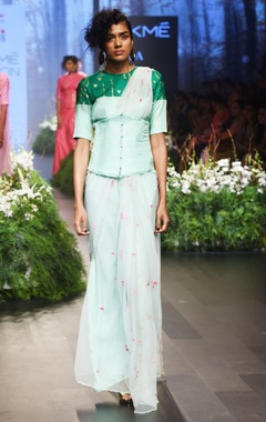 mint green embroidered sari