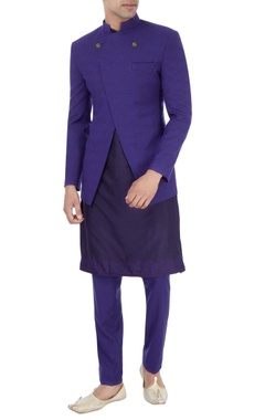navy blue hand embroidered kurta set with bandhgala