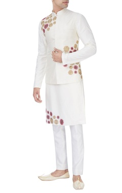 of white embroidered kurta set with bandhi jacket and trousers