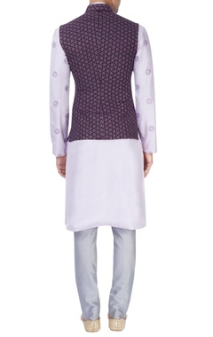 lavender embroidered kurta set with purple bandhi jacket